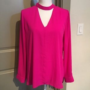 1.State Choker Neck Pink Blouse NEW WITH TAGS